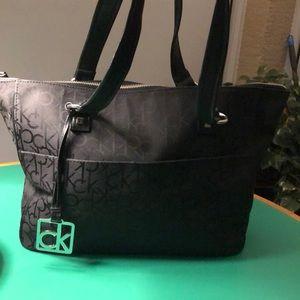 Calvin Klein Black Canvas Monogrammed Large Bag